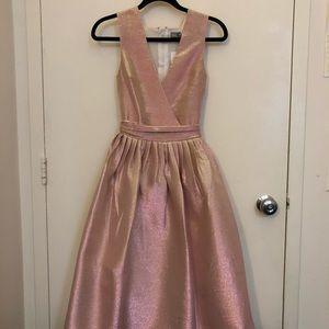 ASOS SALON Holographic Shimmer Midi Prom Dress